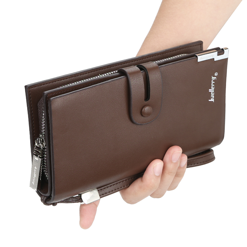 European and American fashion men's leather wallet large capacity buckle clutch wallet multi-card coin purse
