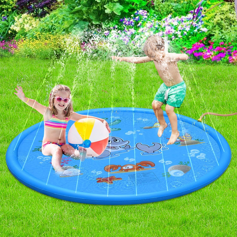 Sprinkler Splash Play Mat Outdoor Water Play Sprinkle Spray Pad Toys For Kids Babies Boys Girls Children Toddlers Swimming Pool