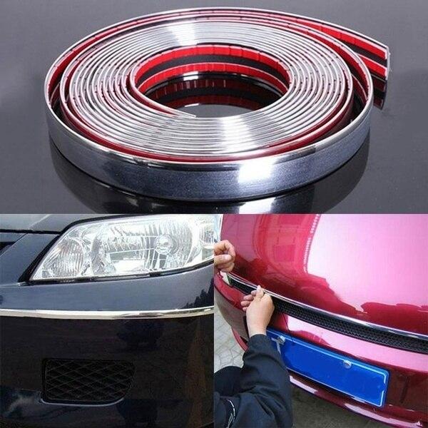 6mm/12mm/15mm/18mm/22mm Durable Car Chrome Styling Decoration Moulding Trim Strip Auto DIY Car Accessories
