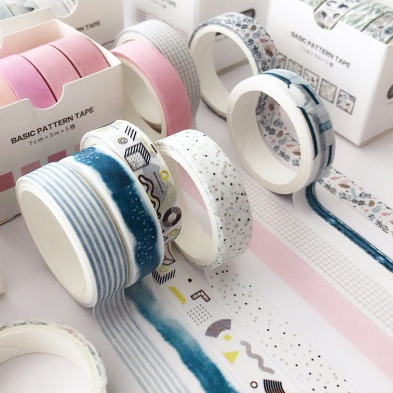 5Pcs/Set Washi Tape Cute Grid Adhesive Tape Solid Color Basic Style Masking Tape For Stickers Scrapbooking DIY Photo Album Diary