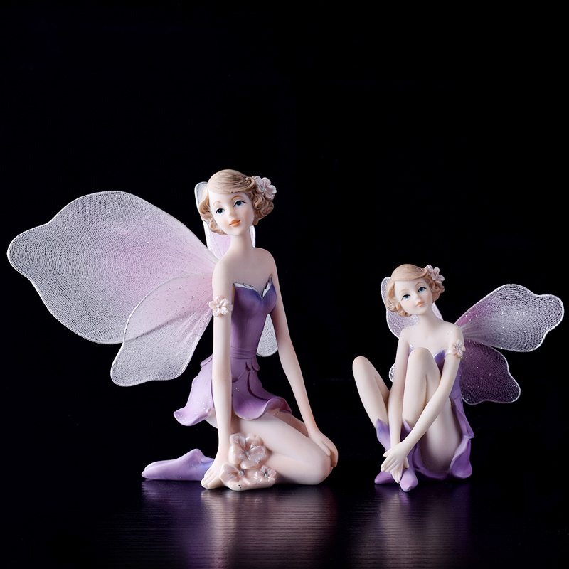 European resin Angel Flower Fairy Doll girl ornaments font b Kawai b font fairy garden miniatures