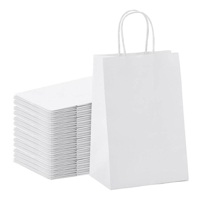50 шт крафт-бумажный мешок Сумка-тоут сумка для покупок Подарочная сумка на вынос бумажный мешок круглая Веревка Сумка-тоут