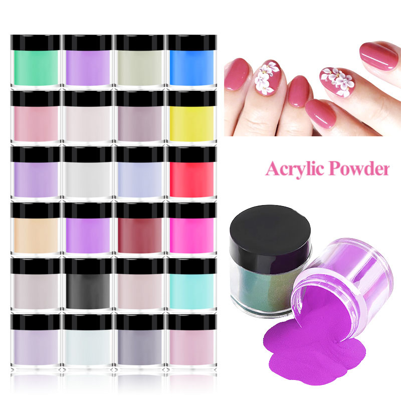 12/18/24pcs/Set Acrylic Powder Carving Nail Polymer Tip Extension French Pink White Clear Crystal Powder 3D Crystal Polymer