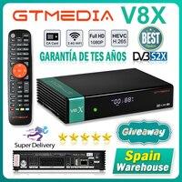 GTmedia-receptor satélite V8X DVB-S2, Original, Full HD, 1080P, Puerto Super Scart, H.265, Wifi integrado, España