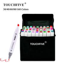 TouchFIVE-kolorowe markery wiele kolorów 30 40 60 80 168 do rysowania mangi mazaki na bazie alkoholu do szkicowania olejowe artykuły plastyczne podwójny pędzel tanie tanio CN (pochodzenie) Pojedyncze (AE存量)* 7 JEDNA Markery do malowania Zestaw TOUCHFIVE Art Markers Pens Alcohol Markers Art Supplies Markers