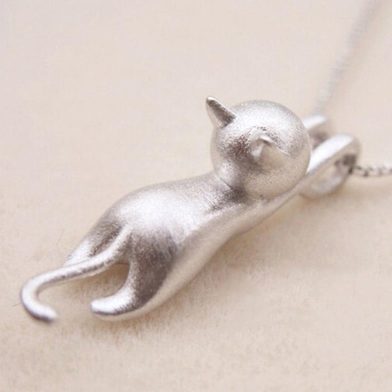 Silver 925 Jewelry Women Sterling Silver Necklaces Sweet Cats Pendants Frosted Silver Jewelry Fine Jewelry Party Birthday Gift
