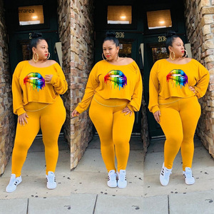 2019 Summer Plus Size Women O-Neck Long Sleeve Lips Printed Top With Long Slim Pants Casual Two-Piece Set DM140