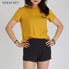Shein Net Sweet College Style Simple Trendy Letters Embroidery Solid Color Crew Neck Short Sleeve Base-T-shirt Women's(China)