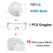 KN95 Dustproof Anti Breathable Face Masks 95% Filtration N95 Masks FFP2 3 layers Disposable Mask Eye Goggles PM2.5 Carbon Filter