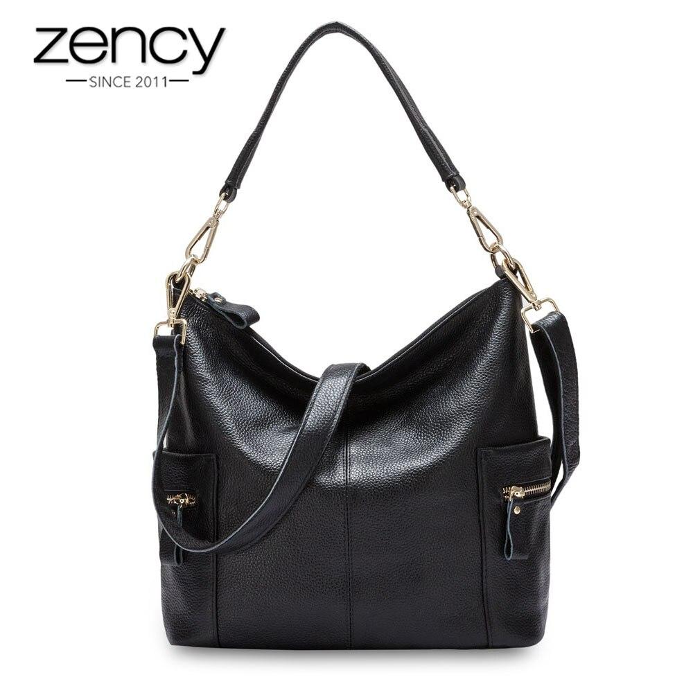 Zency 100% ของแท้หนังผู้หญิงกระเป๋าสะพายกระเป๋าขนาดใหญ่ความจุ Beige Messenger Crossbody กระเป๋า Tote กระเป๋าถือสีดำ-ใน กระเป๋าหูหิ้วด้านบน จาก สัมภาระและกระเป๋า บน   1