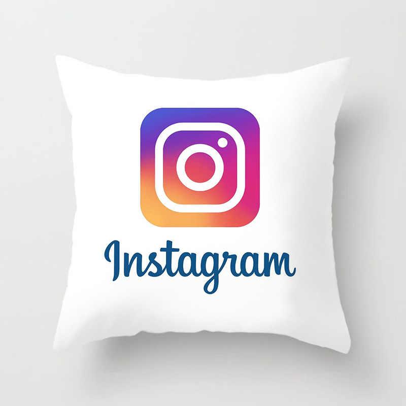ファッションソフトマイクロファイバー正方形のソファベッドの綿枕印刷された印刷パターンイン wechat ロゴ現代枕シートクッション