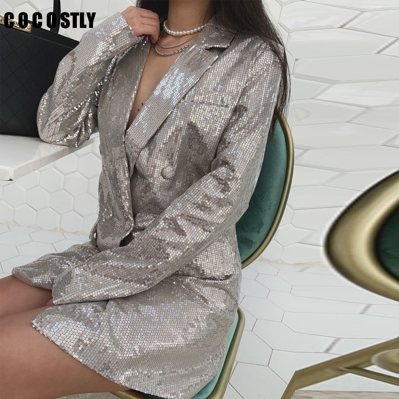 New Autumn Long Sleeve Sequined Blazer Women Vintage Double Breasted Blazer Casual Pockets Notched Lady Suit Jacket Outwears