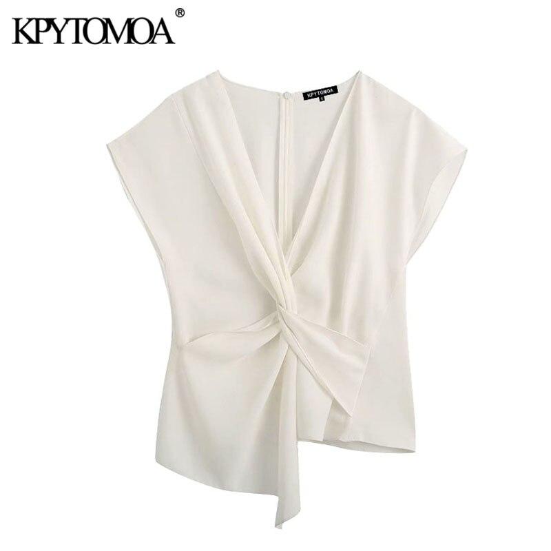 KPYTOMOA Women 2020 Fashion Knot Detail Asymmetric Blouses Vintage V Neck Short Sleeve Back Zipper Female Shirts Blusa Chic Tops