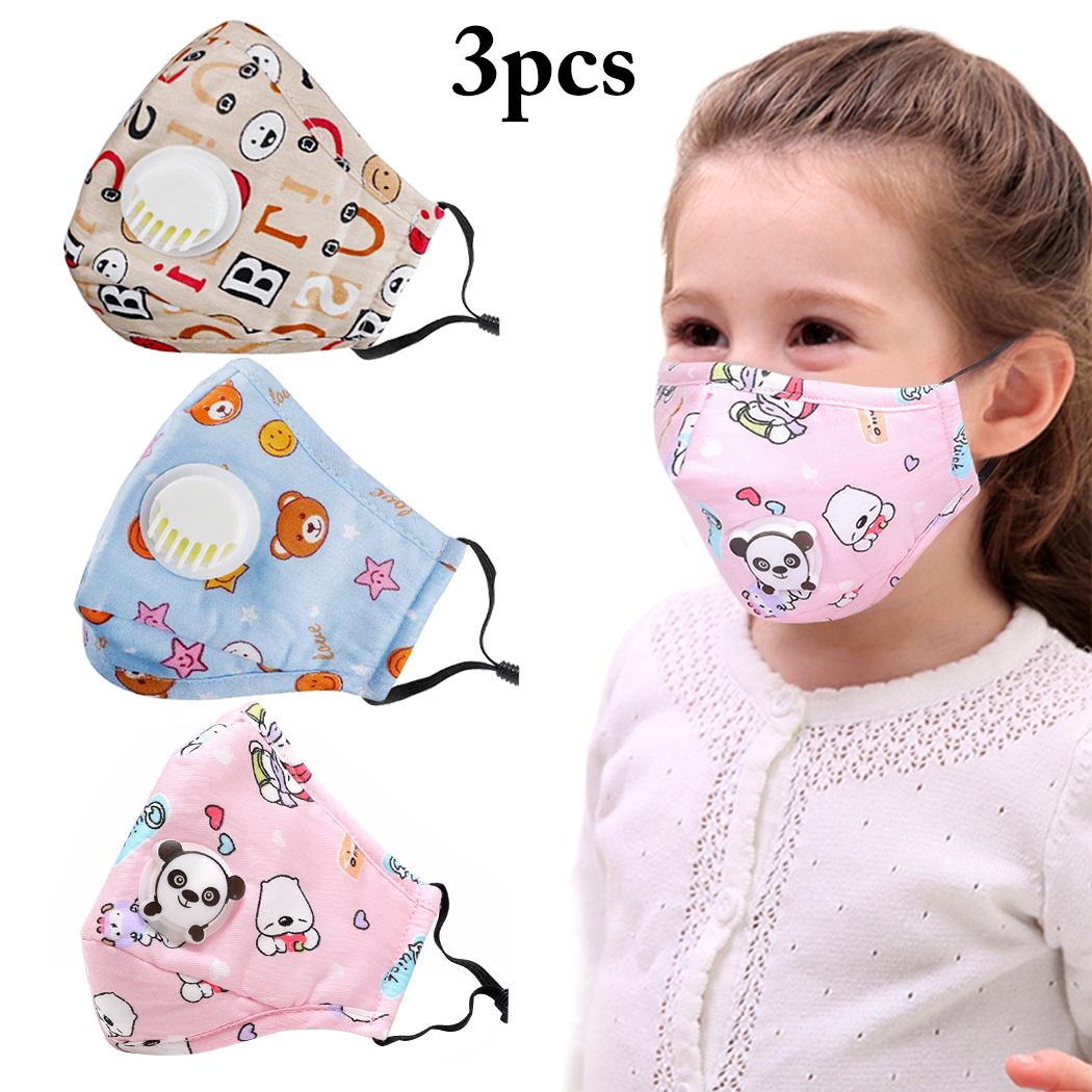 3PCS Mouth Mask Cartoon Warm Breathable Half Face Mask Mouth Cover For Children Kids Girls Boys