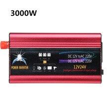 3000W Car Solar Inverter DC12/24V To AC 220V Power Inverter Modified Sine Wave Power Inverter Car Charger Converter Adapter