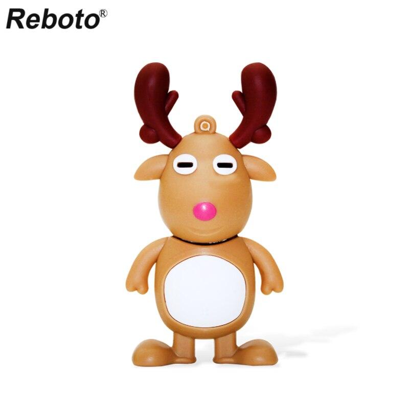 Cartoon Animal Figure USB 2.0 Pendrive 64GB 32GB 16GB 8GB Memory Stick Flash Disk Cute Christmas Elk U Disk Mini Thumb Drive