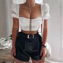 2019 Nibber women sexy white Low-cut Crop Tops summer fashion wild T-shirt black Elastic Slim Soft tops Solid short sleeve