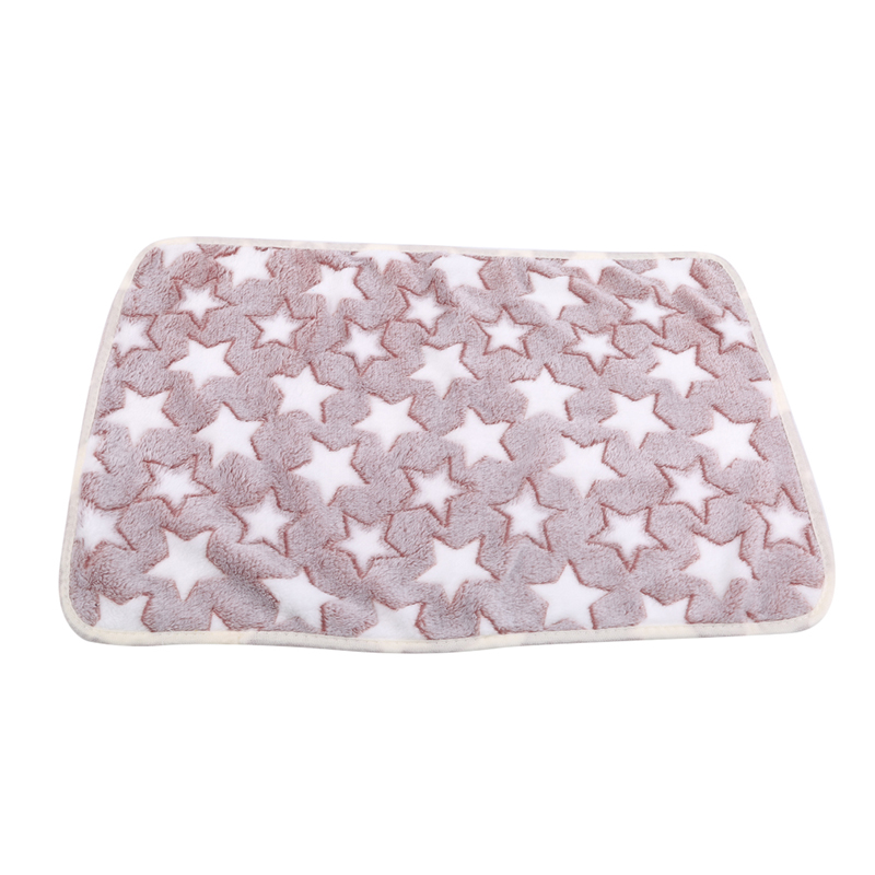 Pet Dog Bed Soft Coral Fleece Star Print Warm Pet Blanket Sleeping Bed Cover Mat For Small Medium Dog Cat Winter Warm Mats