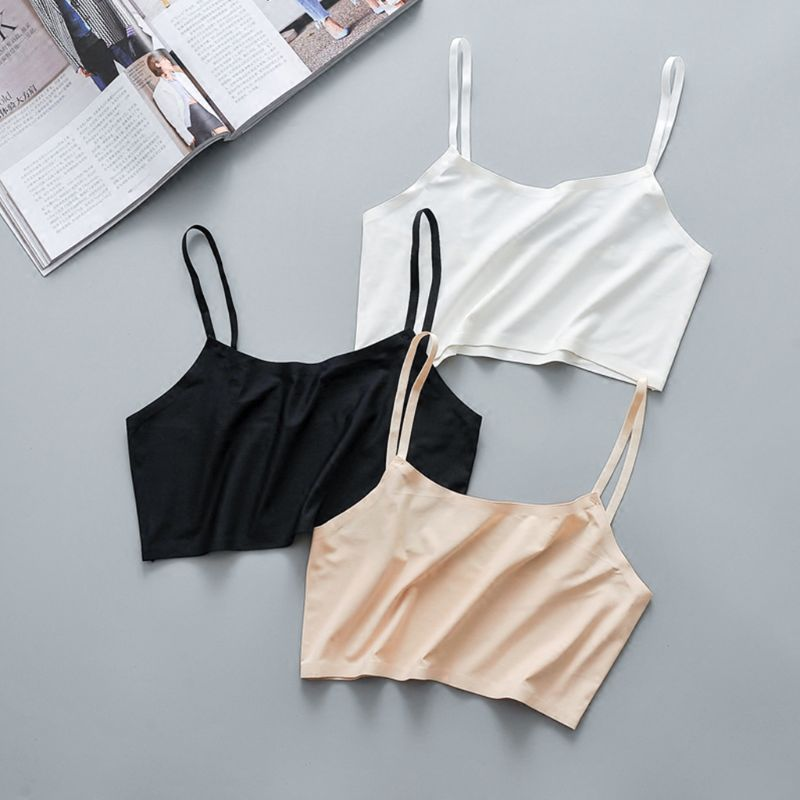 Women Girls Summer Ice Silk Crop Top Spaghetti Strap Seamless Bralette Solid Color Wire Free Basic Stretch Camisole Vest