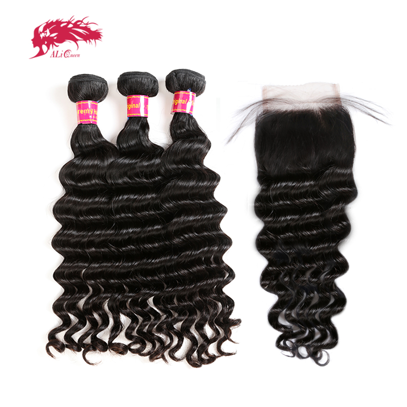 3Pcs Brazilian Natural Wave Human Hair Bundles With Lace Closure Frontal Remy Hair Ali Queen Hair Bundles With Closure Free Part