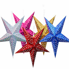 Hot Sale Creative 6 colors String Hanging Star Christmas Party Decor Tree Ornament Children Favor
