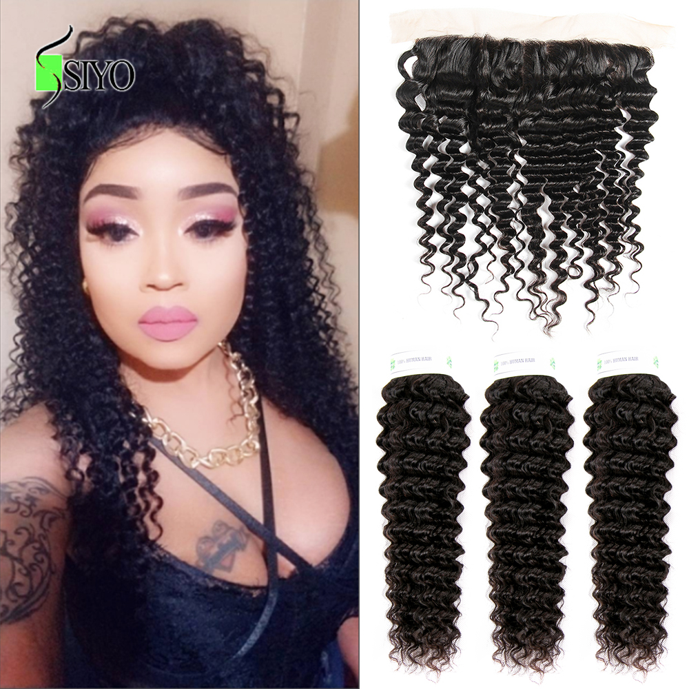 """Siyo Deep Wave 3 Bundles with Frontal 8 26"""" M Remy Human Hair with 13x4 Lace Frontal Malaysian Hair Bundles with Closure-in 3/4 Bundles with Closure from Hair Extensions & Wigs"""