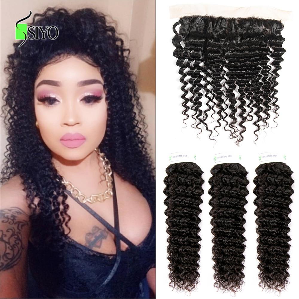 "Siyo Deep Wave 3 Bundles with Frontal 8 26 M Remy Human Hair with 13x4 Lace Siyo Deep Wave 3 Bundles with Frontal 8-26"" M Remy Human Hair with 13x4 Lace Frontal Malaysian Hair Bundles with Closure"