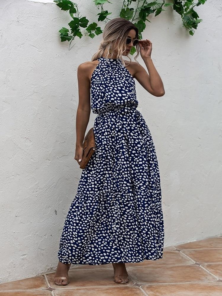 Summer Elegant  beach Women Dress  2020 long Print Flowers Polka-dot strap Ladies Halter boho Dress Vintage party ladies Dress 7