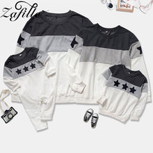 Zafille 2020 família olhar mãe e filha roupas combinando 2 cores retalhos estrela família hooides roupas combinando