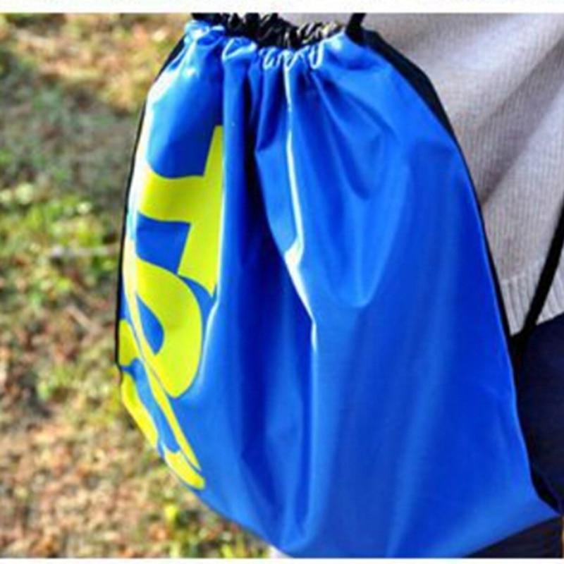 1pcs Blue Nylon Swimming Drawstring Beach Bag Sport Gym Waterproof Backpack