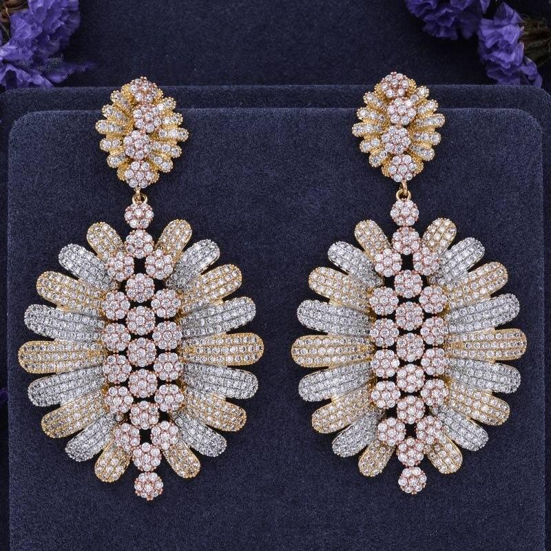 ZA 70mm marque de luxe pleine Micro pavé perles boucles d'oreilles feuille Hyperbole 3 couleurs or Rose Dangle boucle d'oreille femmes bijoux de fête de mariage