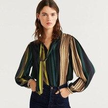 Blouse women plus size vintage tops clothes Striped Prints Bow zaraing women 202