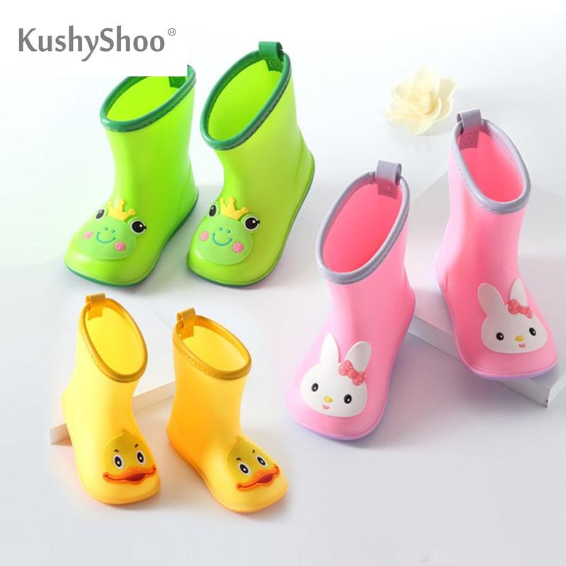 KushyShoo Classic Children's Shoes PVC Rubber Kids Baby Cartoon Shoes Water Shoes Waterproof Rain Boots Toddler Girl Rainboots