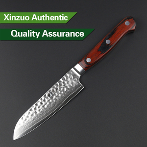 Image 4 - XINZUO 5 inch Santoku Knife 67 layer Damascus Stainless Steel Kitchen Knives Pakkawood Handle High Quality Japan Fruit Knives