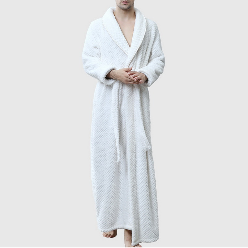Monerffi Robe Kimono Lightweight Fleece Flannel Soft for Men Coral Bathing Pajamas Absorbent