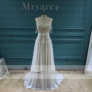 Image 3 - Mryarce 2020 nowy boho weselny sukienka paski spaghetti koronki szyfonu suknie ślubne