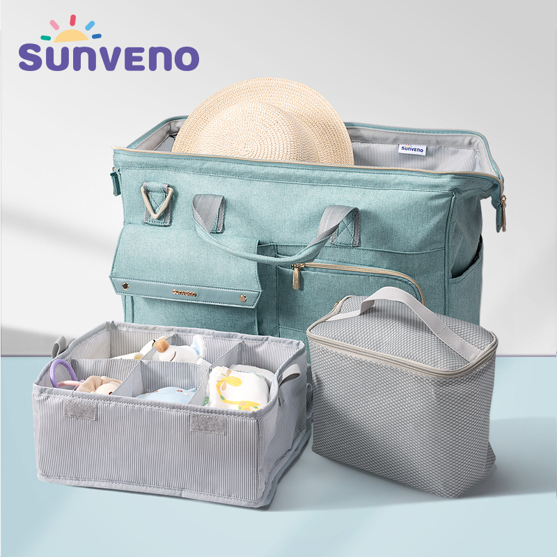3pcs/set Sunveno Large Capacity Baby Nappy Bag Waterproof Diaper Bag Fashion Mother Shoulder Backpack Maternity Baby Travel Bag