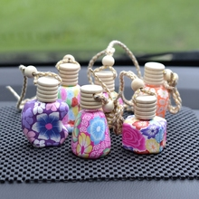 цена на Car Hanging Perfume Bottle Porcelain Pottery Accessories Empty Pendant Ornaments Essential Oil Packaging Container Wood Cover