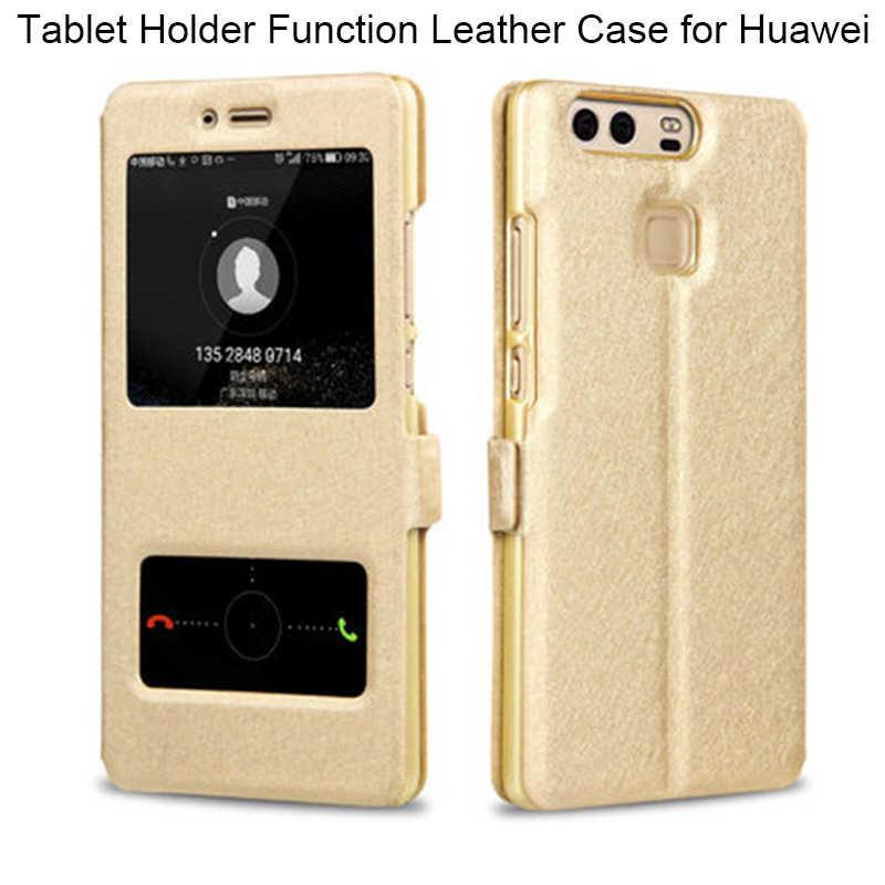 Ipek desen kılıf Huawei P8 P9 P10 P20 Lite P akıllı Mate 9 10 için kapak çevirin deri kılıf y3 ii Y5 iii Y6 Pro 2017 Y7 2018