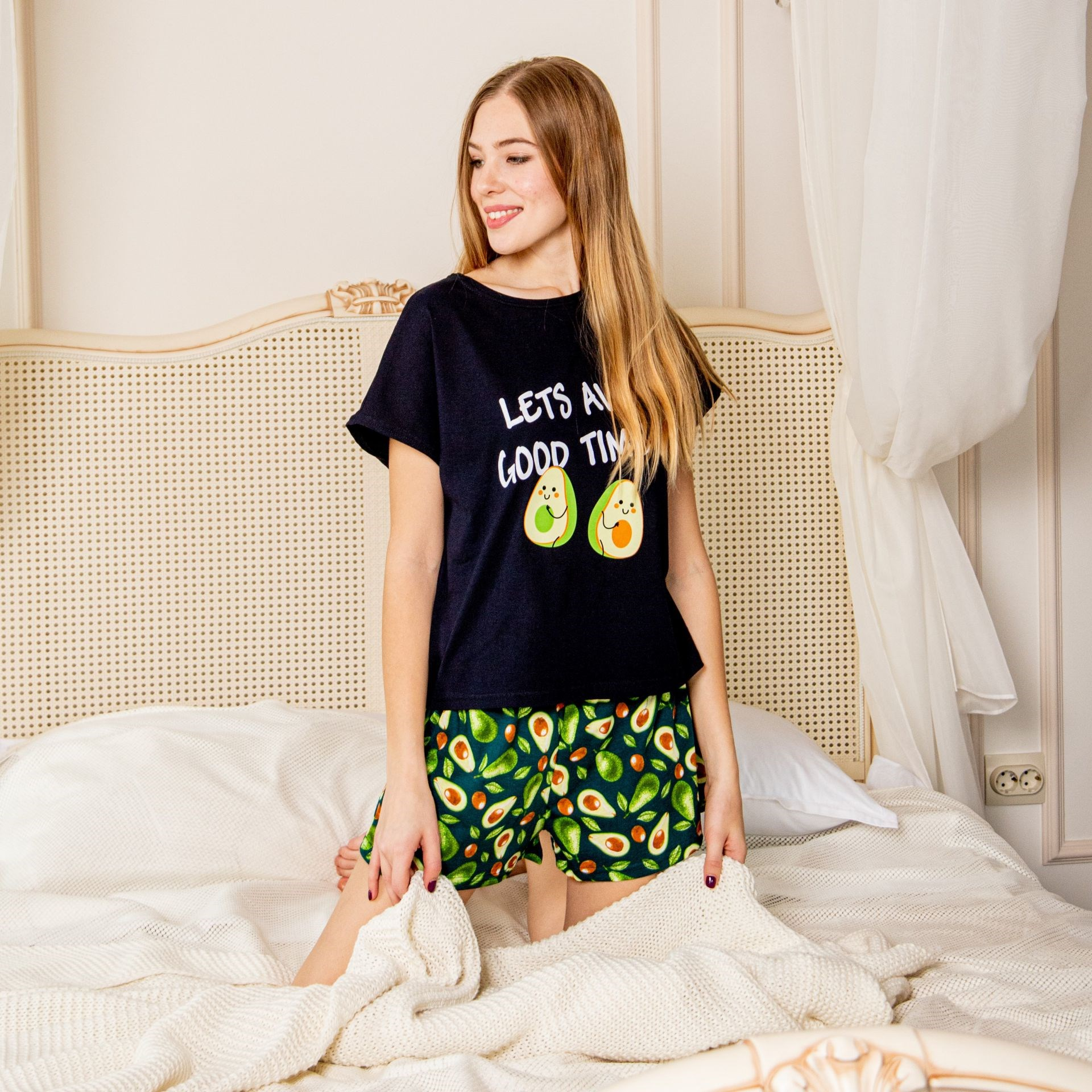 Atoff Home Pajamas ZHP 022/5 (T.-blue + Print Avocado/avocado + Monstera)