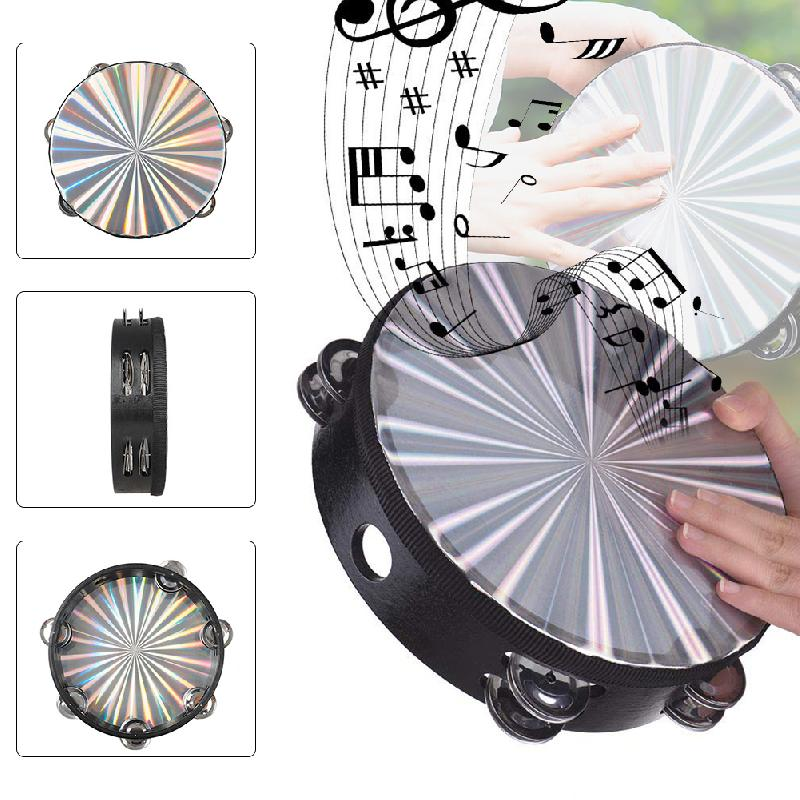 Wooden Handheld Tambourine 6 Pairs Double-Row Jingles Percussion Instruments For Dancing Kids Toys Tambourine Kids Toys Party