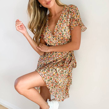 V Neck Empire Sexy Summer Dress for Women Chiffon Print Floral Women's Clothing Dress Short Sleeve Bandage Ruffle  Dresses цена 2017