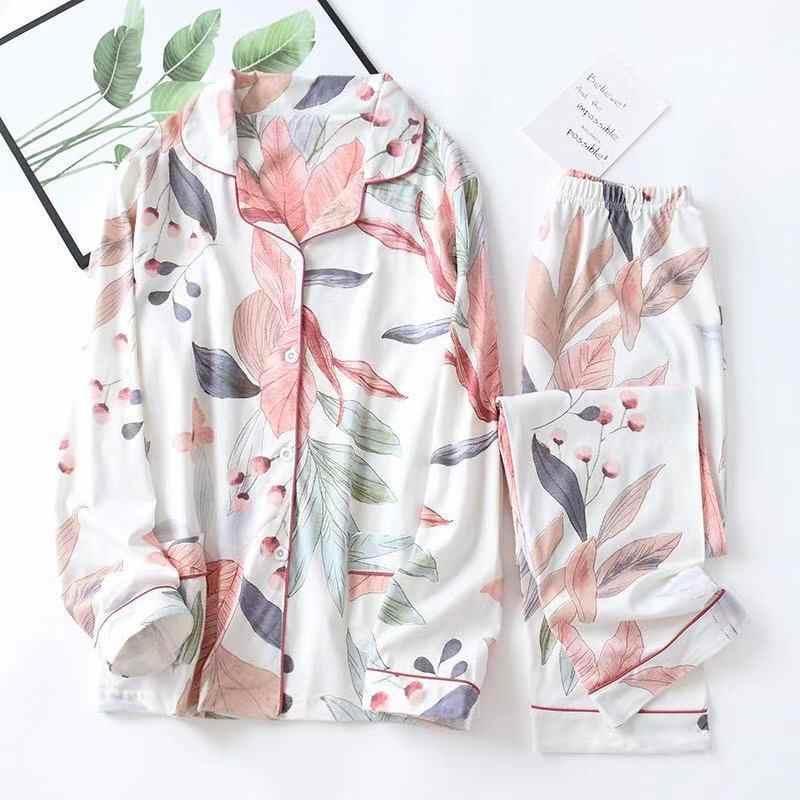 2020 Lente Bladeren Gedrukt Vrouwen Pyjama Katoen Plus Size Tweedelige Set Korte Mode Lange Mouwen Thuis Kleding vrouwelijke Nachtkleding