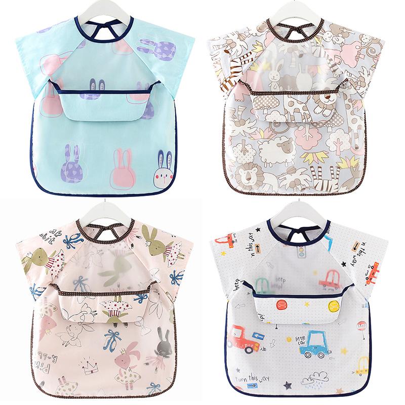 Waterproof Infant Eating Children Drawing Sleeveless Baby Bandana Bibs Cute Baby Bibs Soft Cotton Baby Bib Meal Burp Eva Cloths