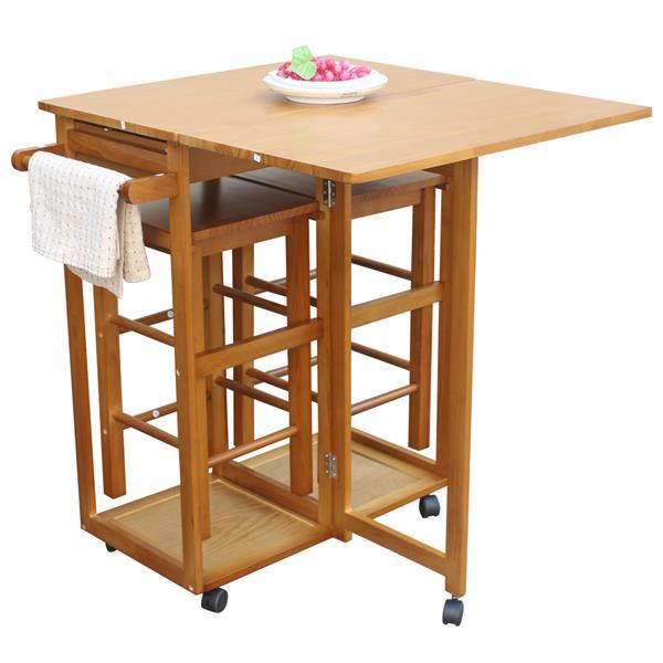 Square Solid Wood Folding Dining Cart with 2 Stools  4
