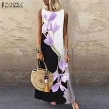 2021 zanzea elegante floral impresso maxi vestido de verão das mulheres casual senhoras sem mangas tanque vestidos feminino robe plus size