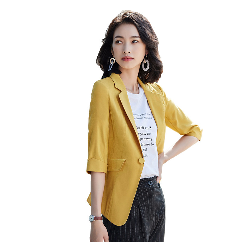 High quality women's blazer 2020 spring and autumn casual professional ladies jacket Fashion office small suit Plus size S-4XL