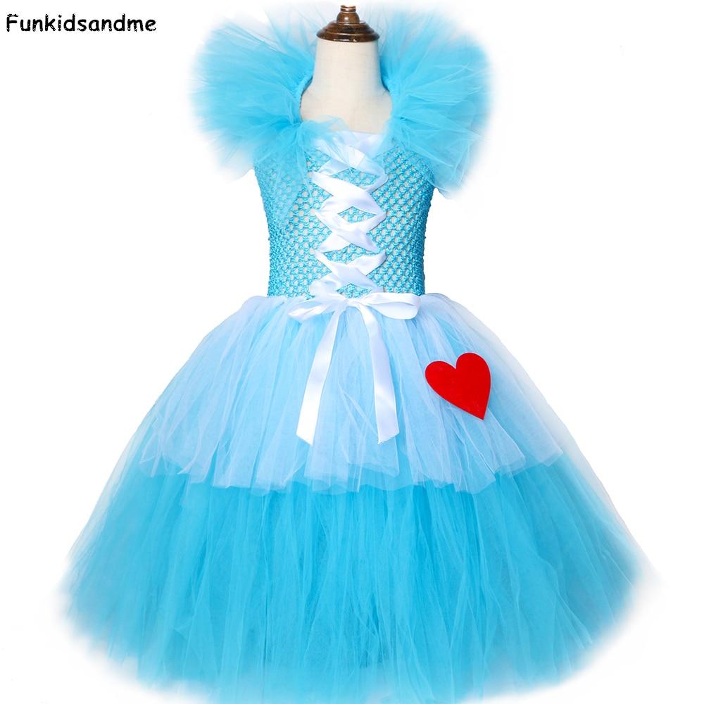 Girls Alice Tutu Dress Sky blue & White Tulle Princess Girls Birthday Party Dress Kids Halloween Carnival Alice Cosplay Costume