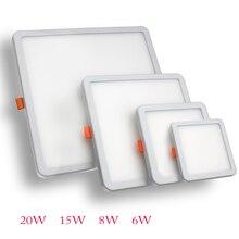 DINGDIAN светодиодный панельный светильник ультратонкая поверхность 6 Вт 8 Вт 15 Вт 20 Вт 220 В квадратная Круглая Панель Свет Белый/Теплый Крытый светодиодная лампа для спальни