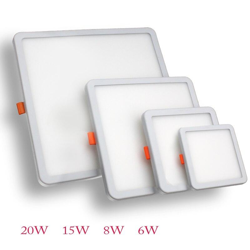 Luces de Panel LED DINGDIAN superficie ultrafina 6W 8W 15W 20W 220V Panel redondo cuadrado luz blanca/cálida luz LED de dormitorio interior